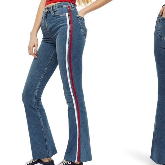 130cca8316f901 MOTO Jamie side stripe flared jeans. M_5b1f53639fe486cb4323feff